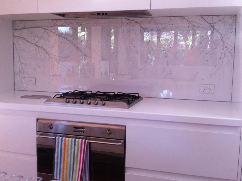 Designer splashback tree branches on white printed splashback